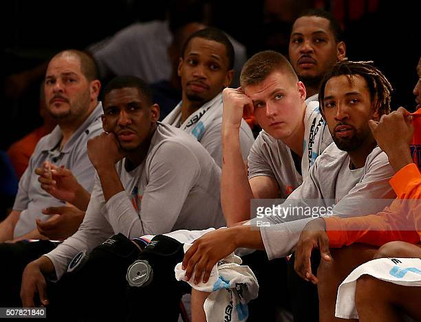 Langston GallowayLance ThomasCarmelo AnthonyKristaps Porzingis and Derrick Williams of the New York Knicks react on the bench in the final minutes of...