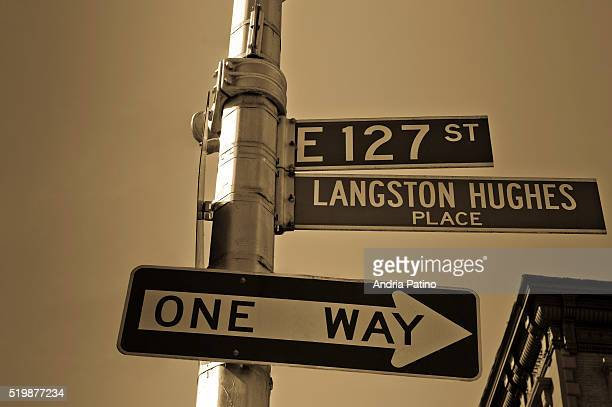 langston hughes place street sign - harlem stock pictures, royalty-free photos & images