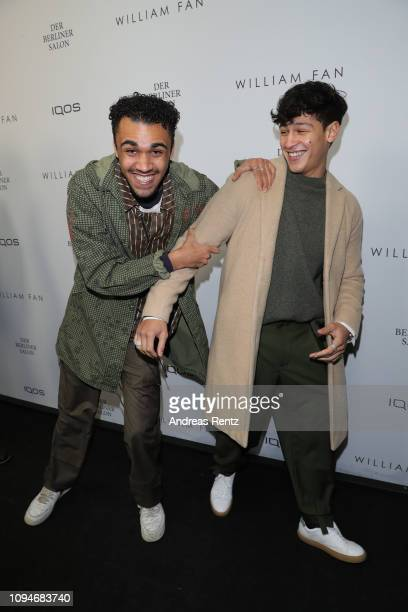 Langston Uibel and Emilio Sakraya attends the William Fan Defile during 'Der Berliner Salon' Autumn/Winter 2019 at Knutschfleck on January 15 2019 in...