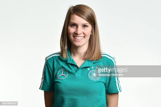Language teacher AnnKathrin Kleiber poses during the U16 Germany Team Presentation on March 19 2018 in Ulm Germany