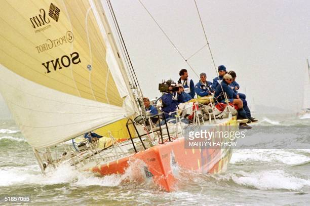 Language the Swedish yacht skippered by Paul Cayard of the US arrives in Southampton waters in second place of the last leg of the Whitbread Round...