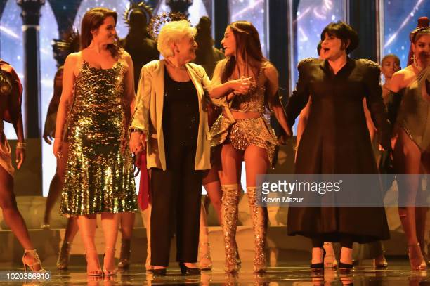 Lani Grande Marjorie Grande Ariana Grande and Joan Grande pose onstage during the 2018 MTV Video Music Awards at Radio City Music Hall on August 20...