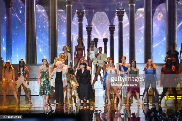 Lani Grande Marjorie Grande Ariana Grande and Joan Grande take a bow onstage during the 2018 MTV Video Music Awards at Radio City Music Hall on...