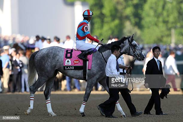 Lani ridden by Yutaka Take walks on the track prior to the 142nd running of the Kentucky Derby at Churchill Downs on May 07 2016 in Louisville...