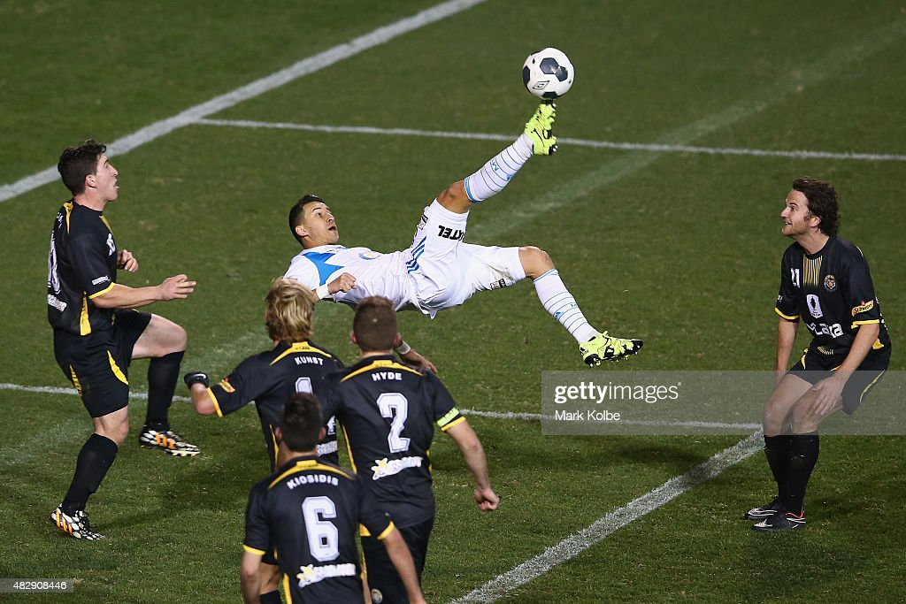 Laniel Georgievski of the Melbourne Victory attempts an overhead shot on goal during a FFA Cup match between Balmain Tigers FC and Melbourne Victory at Leichhardt Oval on August 4, 2015 in Sydney, Australia.