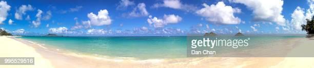 lanikai beach, kailua, oahu, hawaii panorama - kailua beach stock photos and pictures
