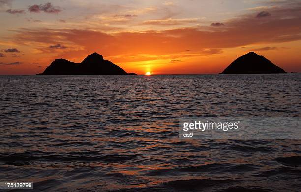 Lanikai beach mokulua islands at sunrise on Oahu Hawaii