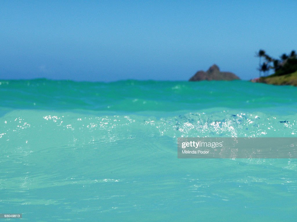 Lanikai Beach with one of the Mokulea Islands : Stock Photo