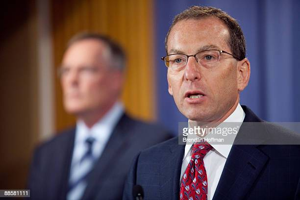 Lanny A Breuer of the US Justice Department discusses the indictment of financier Allen Stanford at a news conference on June 19 2009 in Washington...