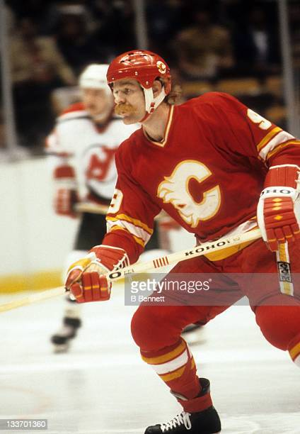 Lanny McDonald of the Calgary Flames skates on the ice during an NHL game against the New Jersey Devils circa 1984 at the Brendan Byrne Arena in East...