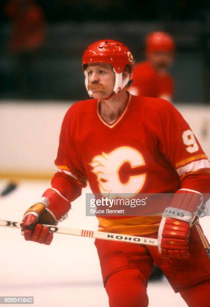 Lanny McDonald of the Calgary Flames skates on the ice during an NHL game against the New York Rangers on November 1 1982 at the Madison Square...