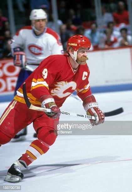 Lanny McDonald of the Calgary Flames skates on the ice during the 1989 Stanley Cup Finals against the Montreal Canadiens in May 1989 at the Montreal...