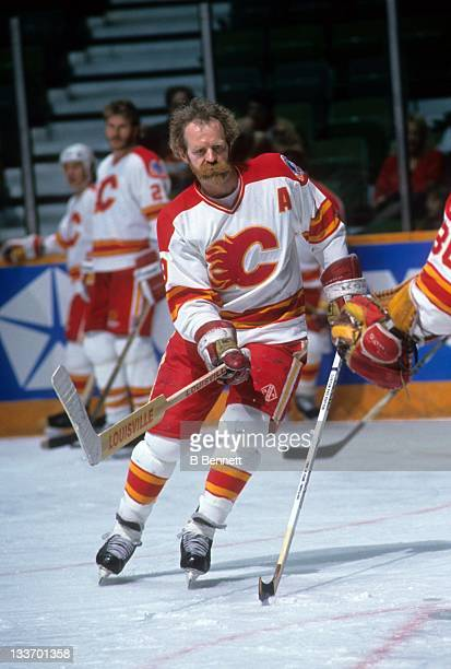 Lanny McDonald of the Calgary Flames warmsup before a 1989 Stanley Cup Finals game against the Montreal Canadiens in May 1989 at the Olympic...