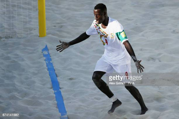 Lansana Diassy of Senegal celebrates a goal during the FIFA Beach Soccer World Cup Bahamas 2017 group A match between Ecuador and Senegal at National...