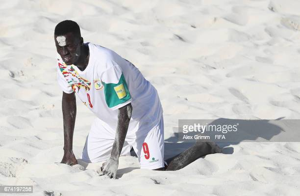 Lansana Diassy of Senegal reacts after the FIFA Beach Soccer World Cup Bahamas 2017 group A match between Ecuador and Senegal at National Beach...