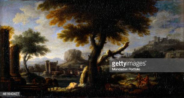 Lanscape with Ruins and a Castel in the Background by Unknown Artist from Veneto ca 1750 18th Century oil on canvas Italy Lombardy Milan Castello...