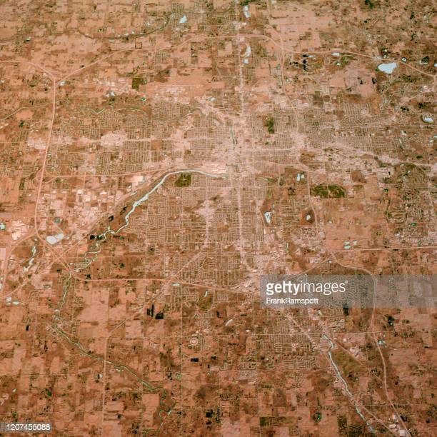 lansing michigan 3d render kaart kleur top view april 2019 - frankramspott stockfoto's en -beelden