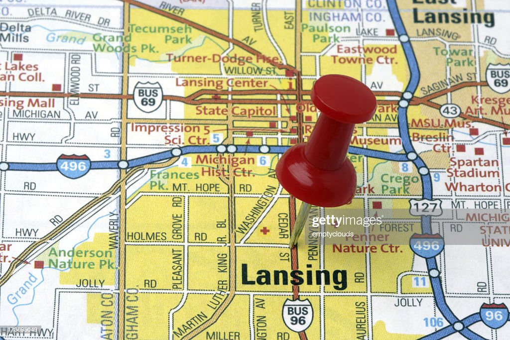 Lansing Michigan On A Map Stock Photo Getty Images