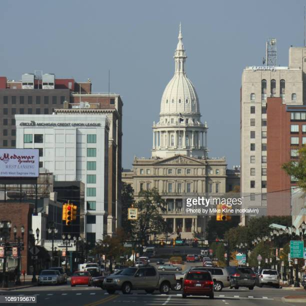 lansing - state capitol - down the road - lansing stock pictures, royalty-free photos & images