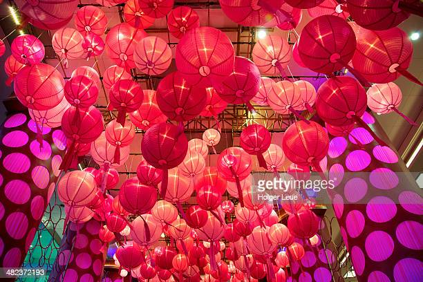 Lantern decorations at entrance to shopping mall