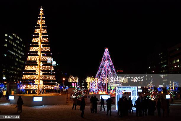 lantern festival for christmas - sapporo japan stock pictures, royalty-free photos & images