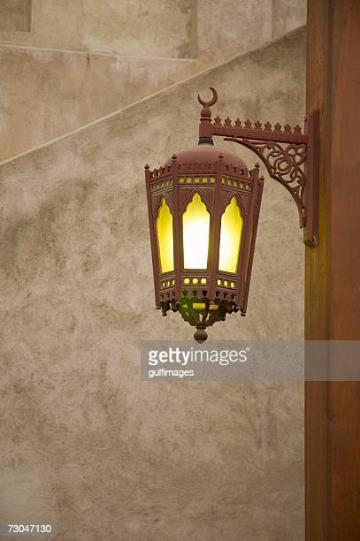 Lantern hanging on the wall