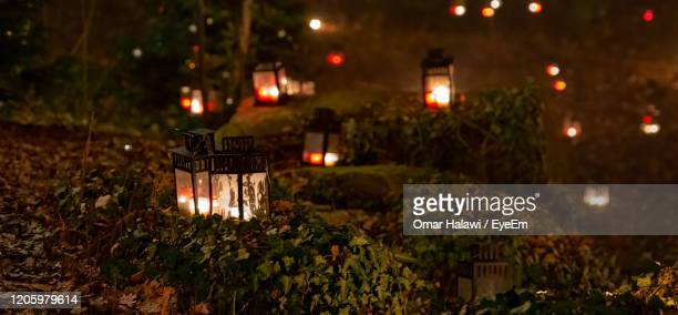 a lantern illuminated in a dark woods or forest with several lanterns behind it - candlelight stock pictures, royalty-free photos & images