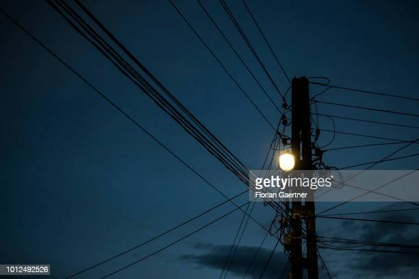 A lantern on a power pole is pictured on July 22 2018 in Porumbenii Mari Romania