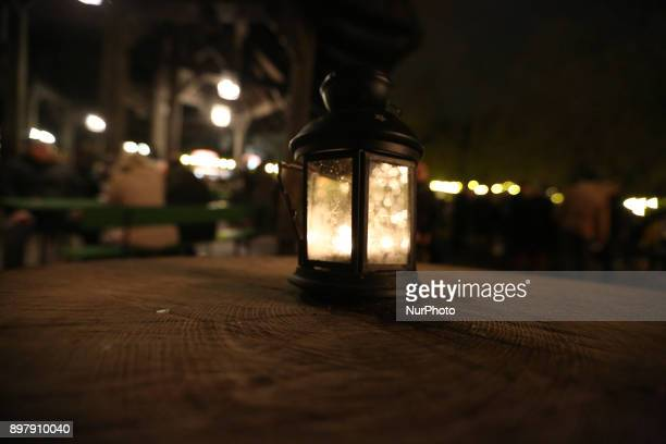 Lantern on a table of the Christmas Market at quotChinesischer Turmquot in Munich on its last day on December 23 2017
