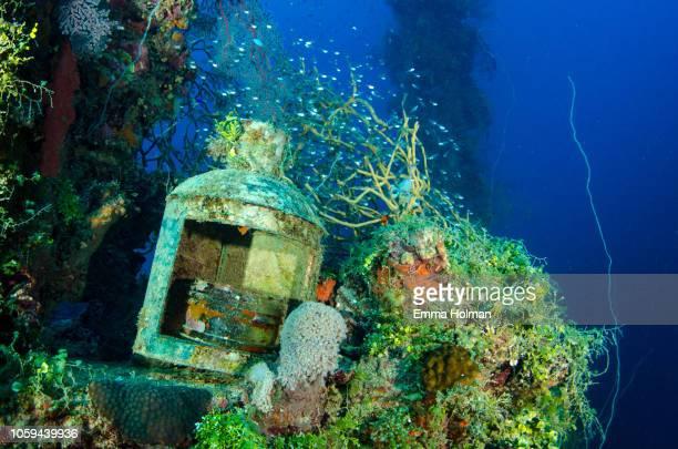 lantern with growth on the kensho maru wreck - lagon chuuk photos et images de collection