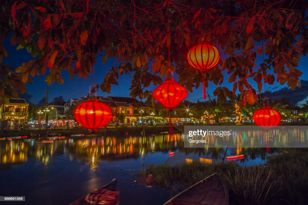 Lanterns and colorful lights on river in Hoi An, Vietnam : Stock Photo