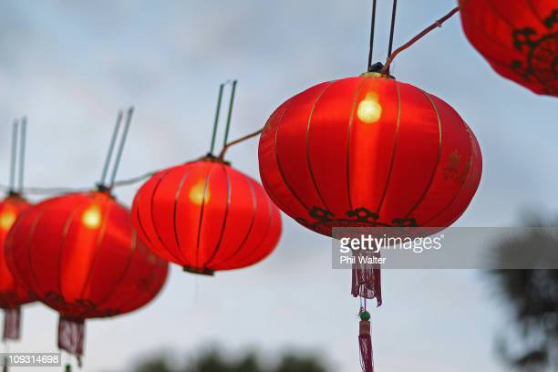 Lanterns are displayed in Albert Park during the Auckland Lantern Festival on February 18, 2011 in Auckland, New Zealand. Record crowds attended the...
