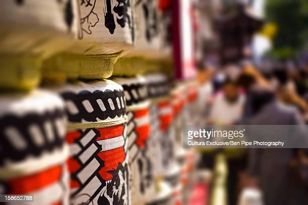 lanterns at kabuki theater in japan - kabuki za stock photos and pictures