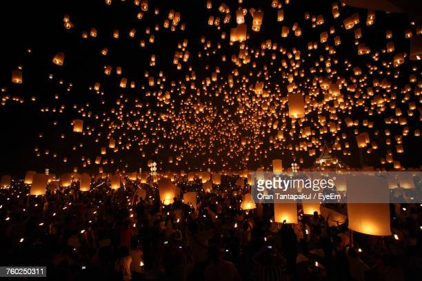 lanterns at night - lantern stock photos and pictures