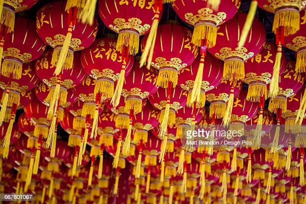 Lanterns at the Kek Lok Si Temple, Chinese New Years in Malaysia is celebrated with paper lanterns hung on ceilings and walls throughout Chinese neighborhoods and businesses in Malaysia