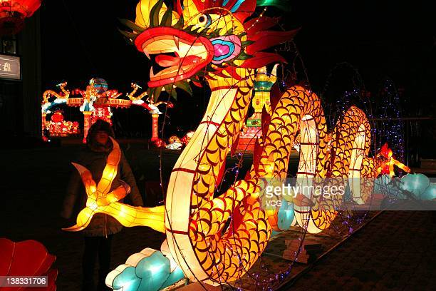 Lanterns decorated in the street to greet the Lantern Festival on February 5 2012 in Taizhou Jiangsu Province of China The Lantern Festival which...