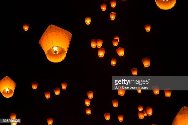 Lanterns floating in sky in Pingxi, Taiwan