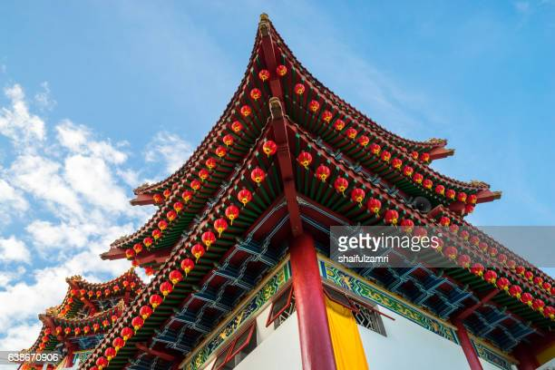 lanterns hanging in chinese temple - shaifulzamri stock pictures, royalty-free photos & images