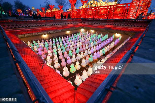 Lanterns illuminate underground cave dwellings to welcome Chinese Lantern Festival at Shanzhou District on February 27 2018 in Sanmenxia Henan...
