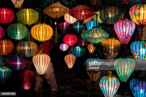 lanterns in hoi an city, vietnam - cultures stock pictures, royalty-free photos & images