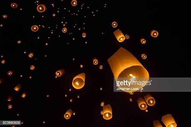 Lanterns in sky