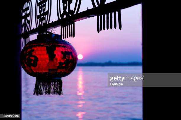 lanterns on a boat - liyao xie stock pictures, royalty-free photos & images