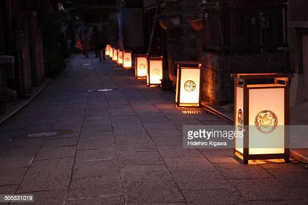 Lanterns on the stone street in Enoshima