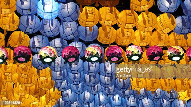 lanterns - buddha's birthday stock pictures, royalty-free photos & images