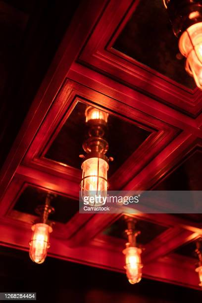 lanterns with a beautiful design installed on the ceiling - 唯一 ストックフォトと画像