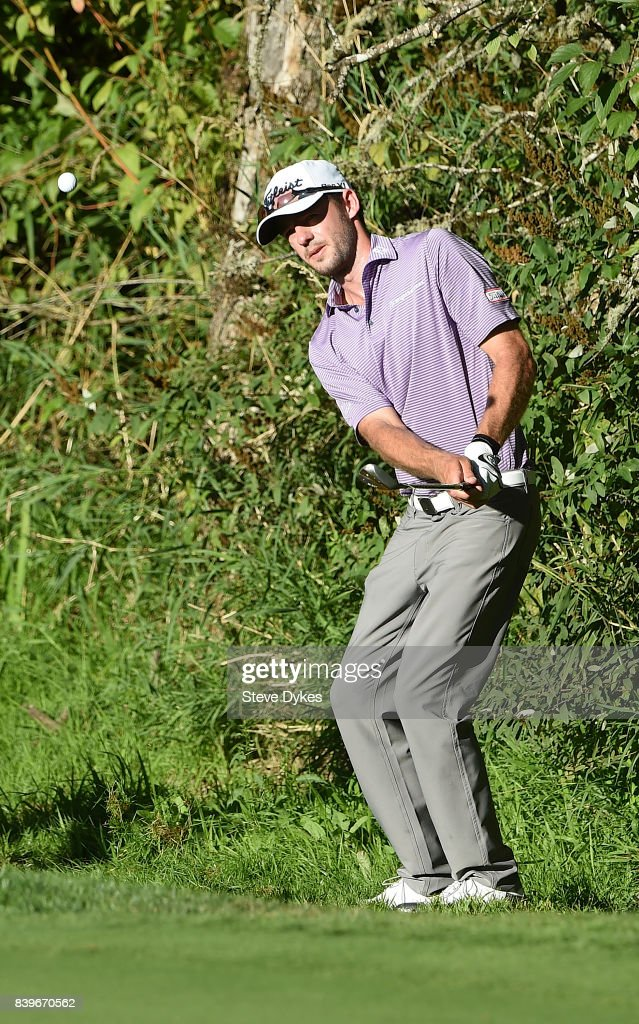 Lanto Griffin chips onto the 14th green during round three of the WinCo Foods Portland Open at Pumpkin Ridge Golf Club - Witch Hollow on August 26, 2017 in North Plains, Oregon.