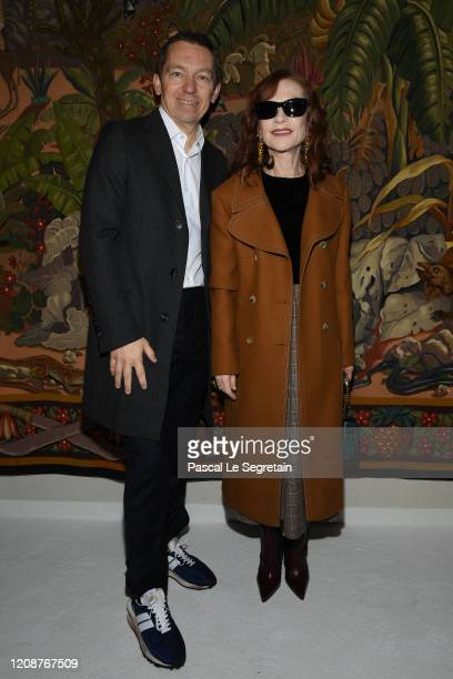 Lanvin CEO Jean Philippe Hecquet and Isabelle Huppert attend the Lanvin show as part of the Paris Fashion Week Womenswear Fall/Winter 2020/2021 on...