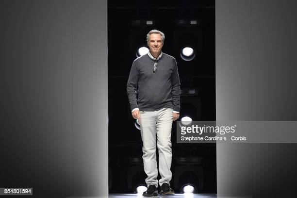Lanvin designer Olivier Lapidus walks the runway during the Lanvin Spring Summer 2018 show as part of Paris Fashion Week at on September 27 2017 in...
