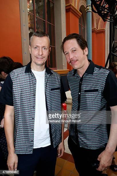 Lanvin men fashion designer Lucas Ossendrijver and Actor Reda Kateb pose after the Lanvin Menswear Spring/Summer 2016 show as part of Paris Fashion...