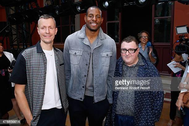 Lanvin men fashion designer Lucas Ossendrijver, Basketball Player Andre Iguodala and Fashion Designer Alber Elbaz pose after the Lanvin Menswear...